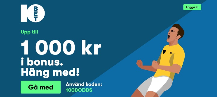 1000 kr gratis bonus hos 10Bet