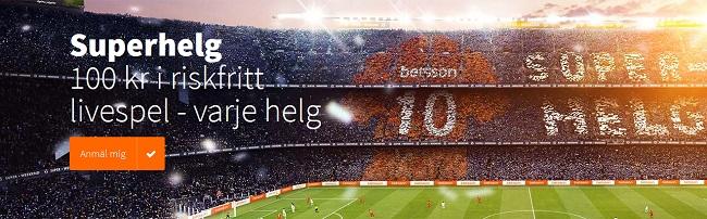 100 kr gratis på sport varje helg hos Betsson