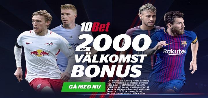 Ny oddsbonus hos 10Bet med 2000 kr gratis