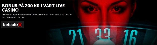 200 kr gratis live casino bonus från Betsafe