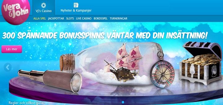 300 gratis spinn hos Vera & John Casino