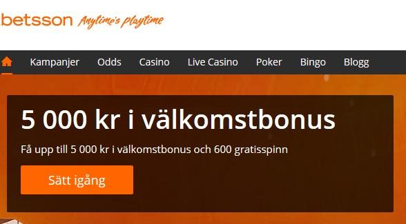 600 gratis spinn hos Betsson Casino