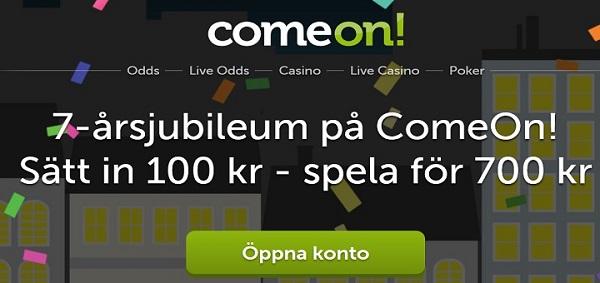 600 kr gratis bonus från Comeon