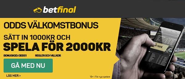 Betfinal med 1000 kr gratis bonus på odds