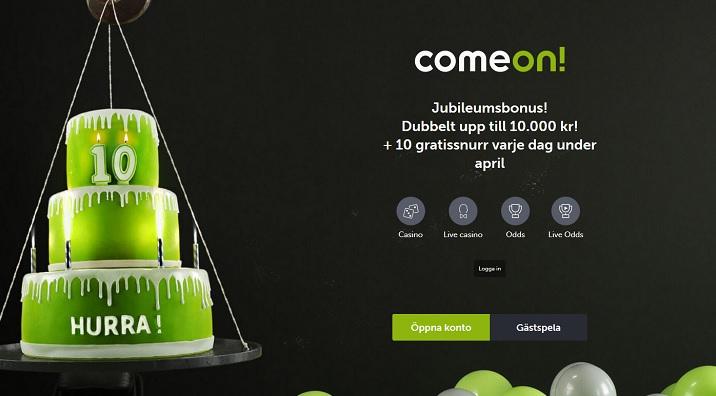 ComeOn casinobonus upp till 5000 kr