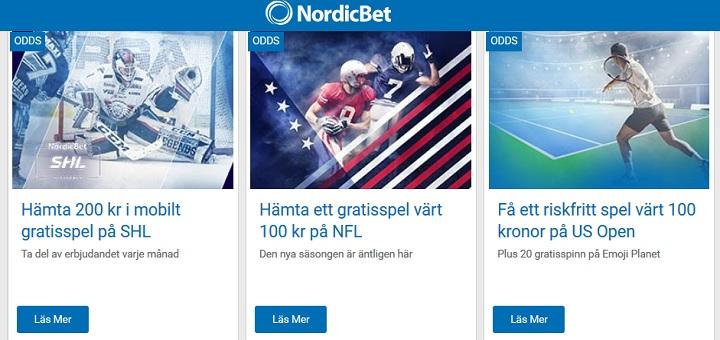Gratis pengar på sport från Nordicbet