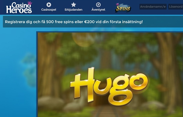 Casino Heroes med 25 gratis spinn på Hugo