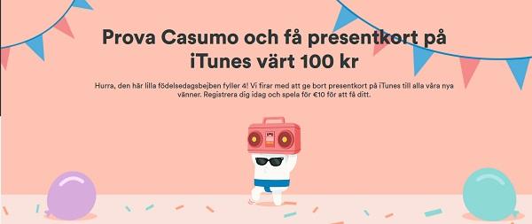 Itunes presentkort 100 kr gratis från Casumo