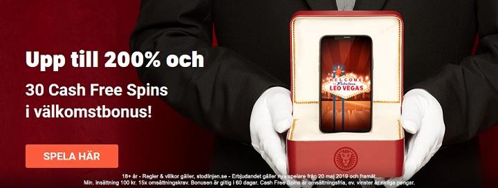 LeoVegas casino med 4000 kr bonus och 30 gratis spinn