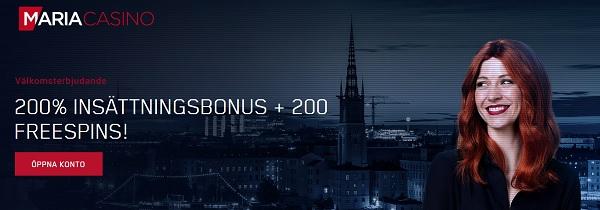 Maria Casino bonus nu med 200 gratis spins