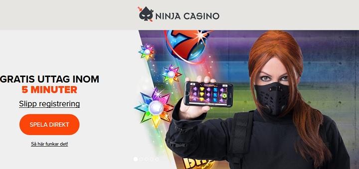 Ninja Casino med gratis uttag inom 5 minuter