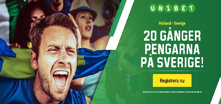 20 ggr pengarna på Sverige mot Holland när Unibet fyller 20 år