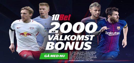 10bet 2000 kr gratis